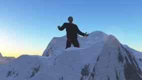 Персона на верхней части горы Стоковые Фотографии RF