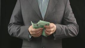 Персона подсчитывая деньги, зарплату, доход, сбережения, наличные деньги, евро видеоматериал