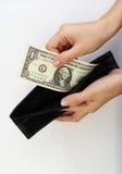 Персона принимая деньги от бумажника Стоковое Фото