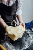 Персона свертывая домодельное тесто печенья Стоковые Изображения RF