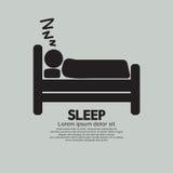 Персона спать в символе кровати Стоковое Изображение