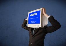 Персона с головой монитора Стоковая Фотография RF