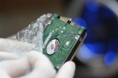 Персона с диском жесткого диска компьютера Стоковые Изображения