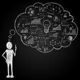 Персона с пузырем речи doodle Стоковая Фотография