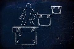 Персона успешно скача над препятствиями Стоковые Изображения
