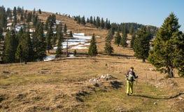 Персона через сценарный ландшафт Kamnik Savinjske Alpe стоковое фото rf