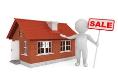персона 3d с знаменем продажи и домом кирпича Стоковые Изображения