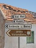 Перспектива горжетки дорожных знаков, Кабо-Верде стоковое фото rf