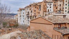Перспектива городка Cuenca старая фасадов дома Стоковые Фотографии RF