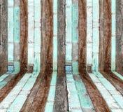 Перспектива комнаты, стена старого Grunge деревянная Стоковые Изображения