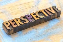 Перспектива - конспект слова в деревянном типе Стоковая Фотография