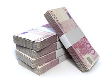 Перспектива кучи Билла евро Стоковое фото RF