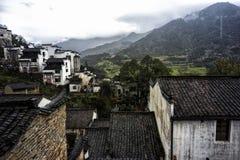 Перспектива поля рапса Цзянси Wuyuan золотого стоковые фотографии rf