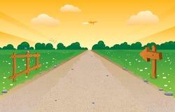 Перспектива проселочной дороги иллюстрация вектора