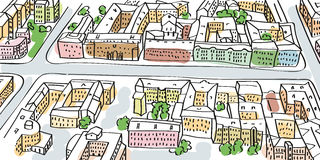 Перспектива улиц города, взгляд сверху Стоковые Фотографии RF