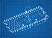 Перспектива 3D †светокопии раковины ванной комнаты « стоковые фото