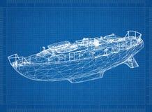 Перспектива 3D †светокопии шлюпки « стоковое изображение rf