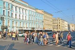Перспектива Nevsky в Святом-Peterburg, России Стоковое Изображение