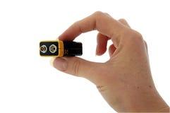 перста батареи 9v сжимают pp3 Стоковое фото RF
