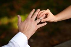 перст кладя кольцо Стоковое Изображение RF