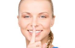 Перст на губах Стоковое фото RF