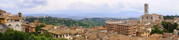 Перудж, Италия - панорамный взгляд Перуджа, столицы Umbr Стоковое Фото