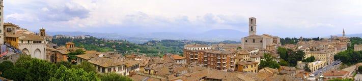 Перудж, Италия - панорамный взгляд Перуджа, столицы Umbr Стоковое Изображение RF