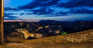 Перудж & x28; Umbria& x29; панорама от подошвы Porta Стоковое фото RF
