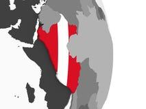 Перу с флагом на глобусе иллюстрация вектора