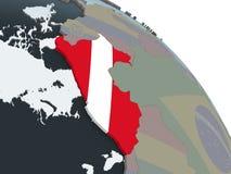 Перу с флагом на глобусе иллюстрация штока