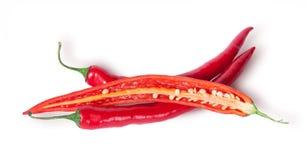 2 перца всех и половин красных chili Стоковое фото RF