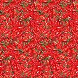 Перца чилей chili акварели предпосылка текстуры картины накаленного докрасна пряного безшовная Стоковые Фото