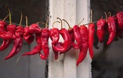 Перцы высушенные красным цветом в старом болгарском доме Стоковая Фотография