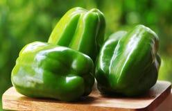 перцы изолированные на зеленой предпосылке стоковые фотографии rf