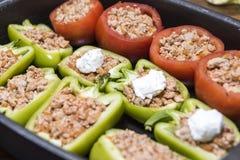Перцы и томаты заполненные с мясом Стоковое Изображение RF