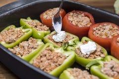Перцы и томаты заполненные с мясом Стоковые Изображения RF