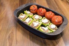 Перцы и томаты заполненные с мясом Стоковая Фотография RF