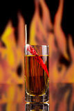 Перцы красного chili в стекле водочки на offlames предпосылки Стоковые Изображения RF