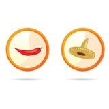 Перцы красного chili и иллюстрация вектора sombrero Стоковое Фото