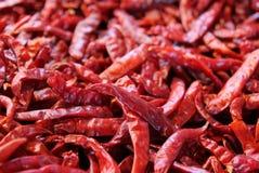 Перцы красного chili на рынке Стоковые Изображения RF