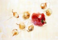 перцы луков красные иллюстрация штока