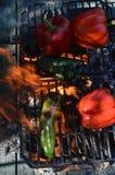 Перцы дыма пламен на гриле hibachi outdoors Стоковые Изображения RF