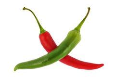перцы chili зеленые горячие красные Стоковое фото RF