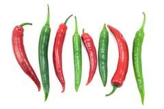 перцы chili зеленые красные Стоковые Фотографии RF