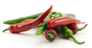 перцы chili зеленые красные Стоковое Изображение