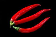 Перцы Chili изолированные на черной предпосылке Стоковая Фотография RF