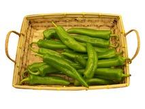 перцы chili корзины белые Стоковое Фото