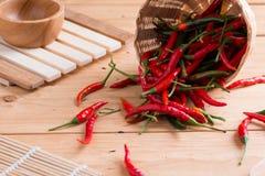 перцы chili корзины горячие красные Стоковая Фотография RF