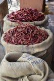 Перцы Chili на рынке в Индии Стоковое Фото