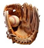 Перчатка бейсбола при шарик изолированный на белизне Стоковое Фото